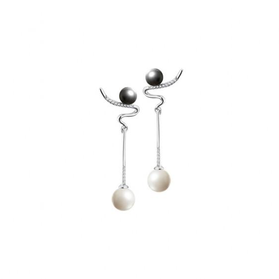 Boucles d'oreilles pendantes Elsa Lee Paris, en argent 925, en forme d'ailes, avec perles grises et blanches et Zirconia