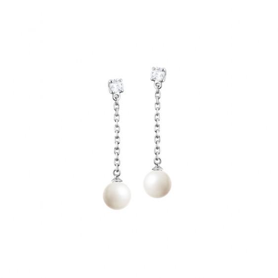Boucles d'oreilles pendantes Elsa Lee Paris, en argent massif, avec deux oxydes de Zirconium blancs, chaînes et perles blanches