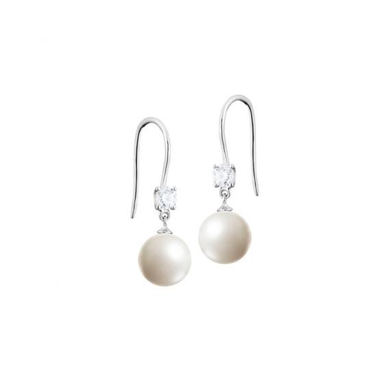 Boucles d'oreilles Elsa Lee Paris en argent 925, avec perles blanches, oxydes de Zirconium et fermeture brisure.