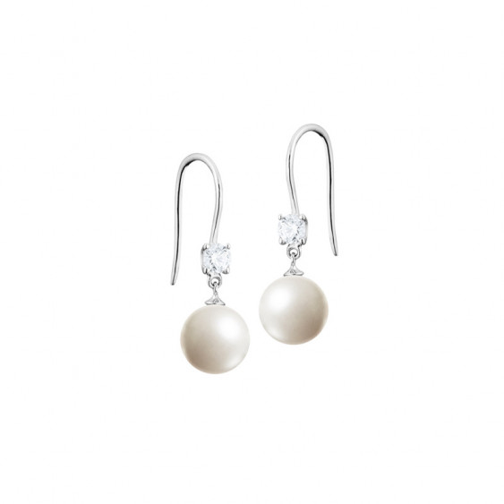 Elsa Lee Paris sterling silver easy to use earrings, with two white pearls and two Cubic Zirconia