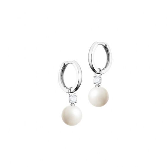 Boucles d'oreilles pendantes style créole Elsa Lee Paris, en argent 925 avec perles blanches et oxydes de Zirconium