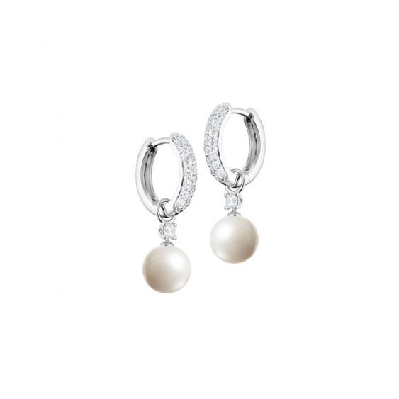 Boucles d'oreilles Elsa Lee Paris en argent style créoles avec perles et oxydes de Zirconium, monture précieuse