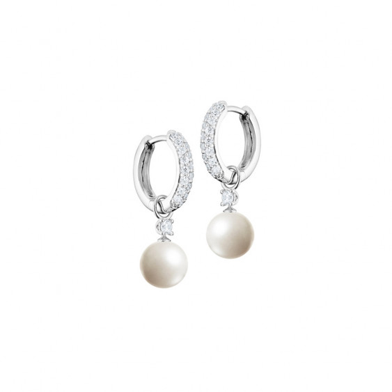 Elsa Lee Paris sterling silver hoop earrings covered with Cubic Zirconia, with two white pearls and two Cubic Zirconia