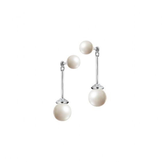 Boucles d'oreilles rigides et pendantes avec quatre perles blanches et monture en argent et oxydes de Zirconium