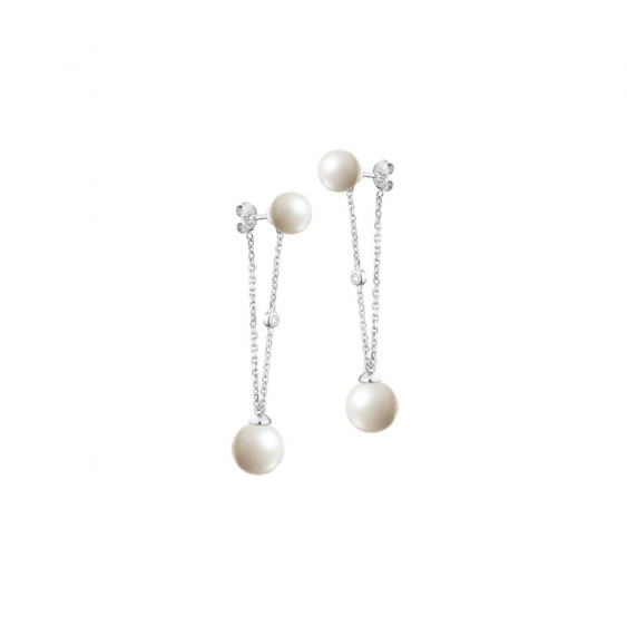 Elsa Lee Paris sterling silver dangling earrings with 4 white pearls 8mm and 10mm with 2 clear Cubic Zirconia
