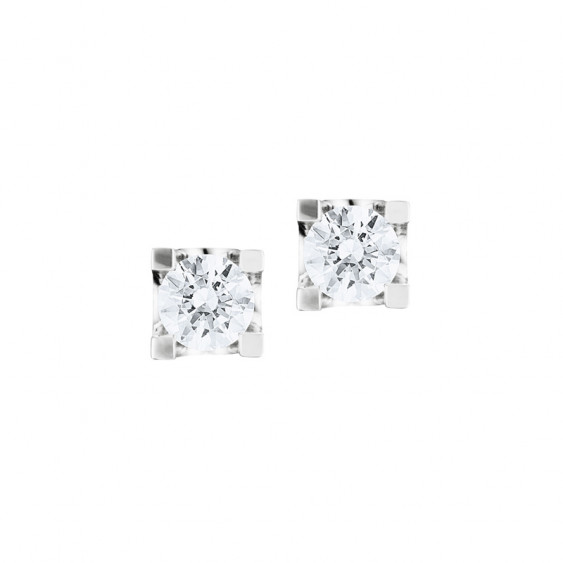 Boucles d'oreilles puces Elsa Lee Paris, collection Tradition, oxydes de Zirconium blancs taille brillants sertis griffe