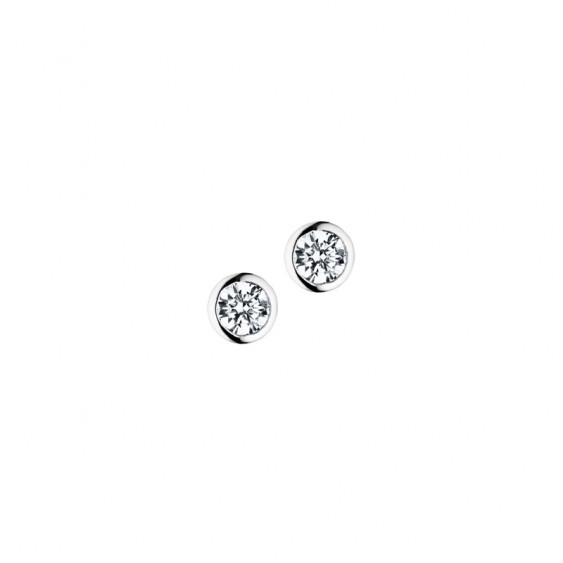 Elsa Lee Paris sterling silver earrings with two close set clear Cubic Zirconia