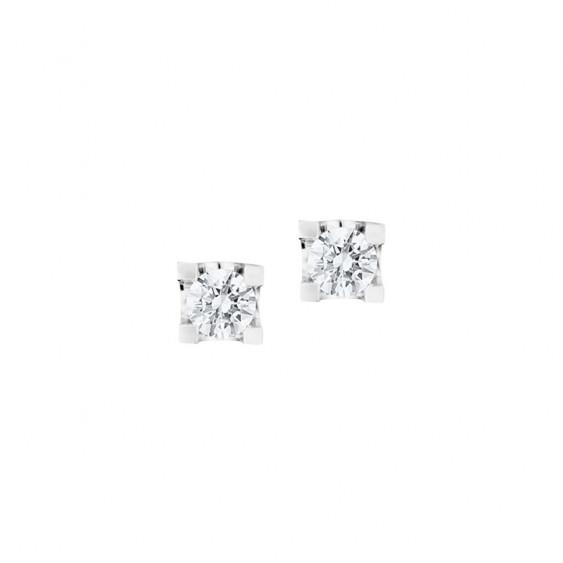 Boucles d'oreilles puces Elsa Lee Paris, collection Tradition, oxydes de Zirconium blancs taille brillants sertis griffe