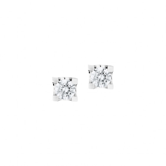 Elsa Lee Paris sterling silver small earrings with two claws set clear Cubic Zirconia