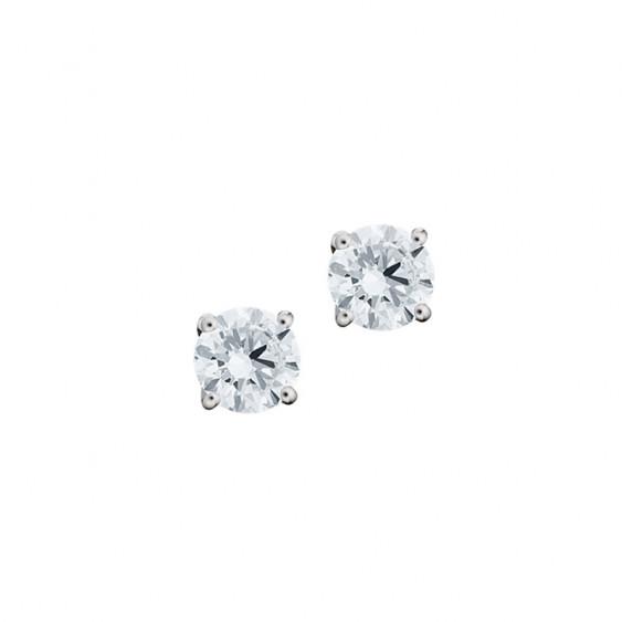 Boucles d'oreilles puces Elsa Lee Paris, collection Tradition, en argent et oxydes de Zirconium taille brillant sertis griffe