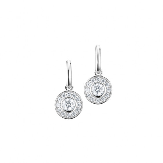 Elsa Lee Paris sterling silver earrings with two close set Cubic Zirconia surrounded by their crowns of Zirconia