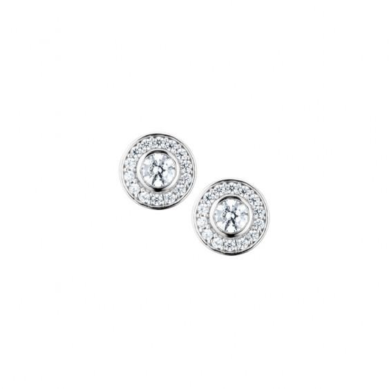 Boucles d'oreilles Elsa Lee Paris, collection tradition, en argent massif et oxydes de Zirconium sertis clos