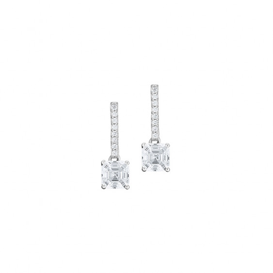 Elsa Lee Paris sterling silver earrings with two claws set princess cut clear Cubic Zirconia and diamond cut Cubic Zirconia on t