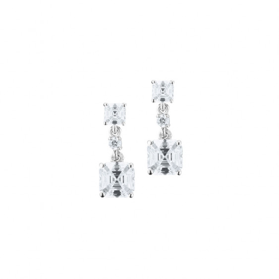 Elsa Lee Paris sterling silver earrings with 4 claws set princess cut clear Cubic Zirconia and 2 diamond cut Cubic Zirconia