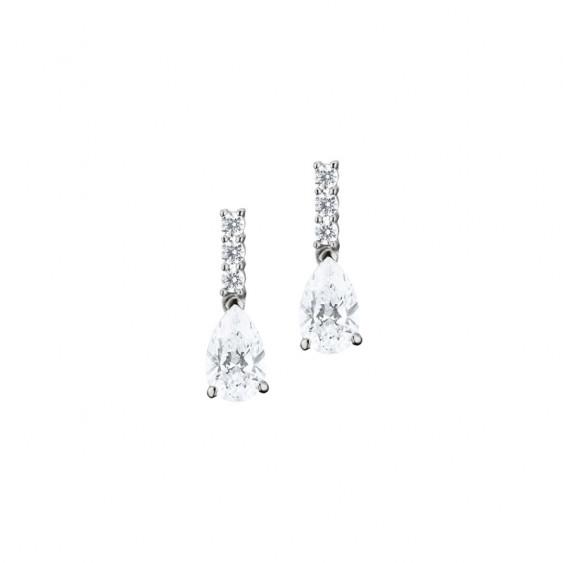Boucles d'oreilles pendantes Elsa Lee Paris, collection tradition, en argent 925, oxydes de Zirconium tailles poires