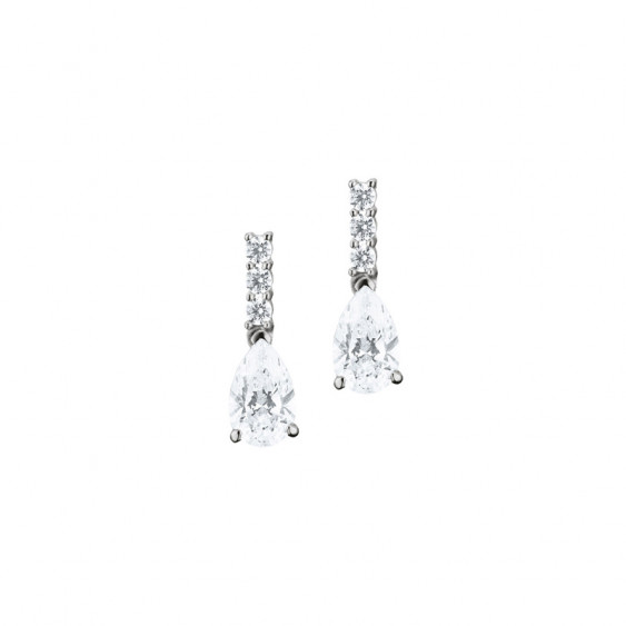 Elsa Lee Paris sterling silver earrings - two claws set pear-shaped clear Cubic Zirconia and six diamond cut Cubic Zirconia