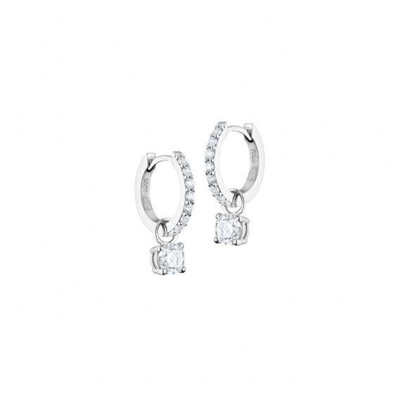 Boucles d'oreilles créoles Elsa Lee Paris, collection Tradition, pavage d'oxydes de Zirconium et pendant