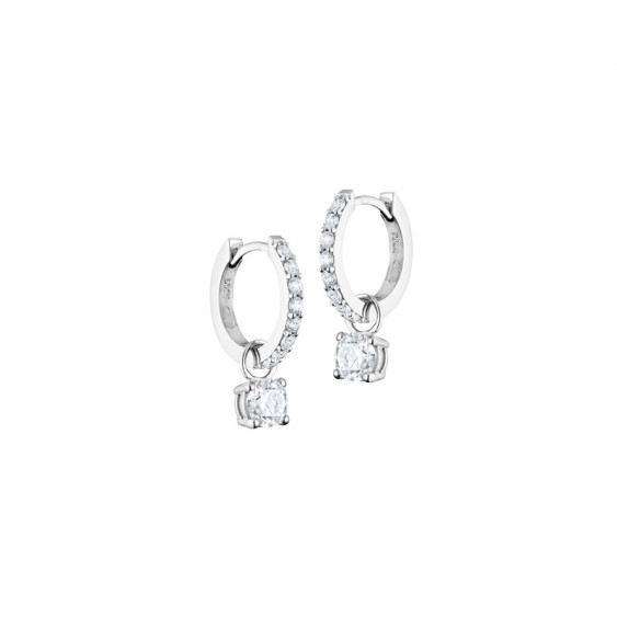 Boucles d'oreilles créoles Elsa Lee Paris, collection Tradition, pavage d'oxydes de Zirconium et pendant