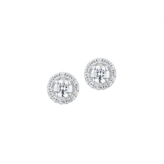 Boucles d'oreilles puces Elsa Lee Paris, forme cercles deux rangs d'oxydes de Zirconium blancs, en argent 925