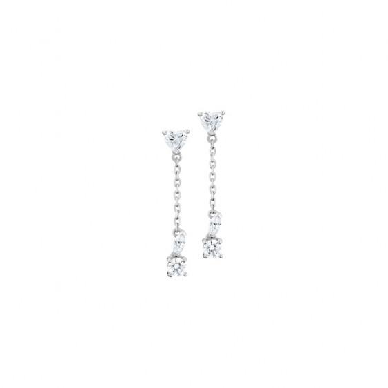 Boucles d'oreilles pendantes Elsa Lee Paris, en argent 925, oxydes de Zirconium différentes formes et chaînes
