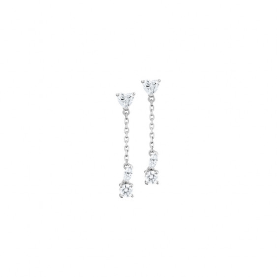 Silver sterling dangling earrings with cubic zirconia heart shaped by Elsa Lee Paris