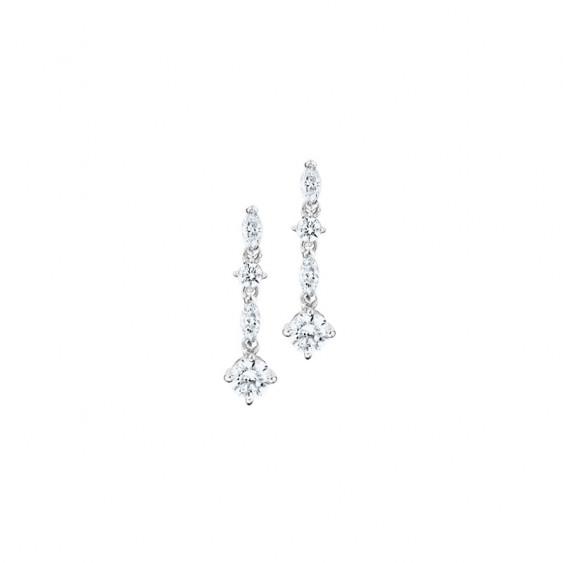 Boucles d'oreilles pendantes Elsa Lee Paris, en argent 925, oxydes de Zirconium différentes formes