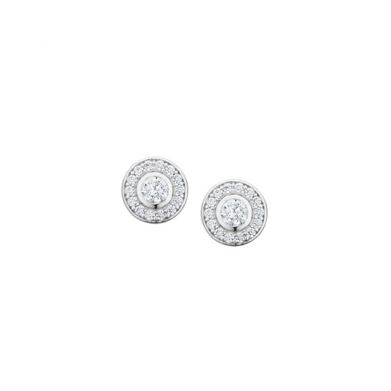 Elsa Lee Paris sterling silver earrings with 2 close set diamond cut Cubic Zirconia surrounded by their crowns of Zirconia