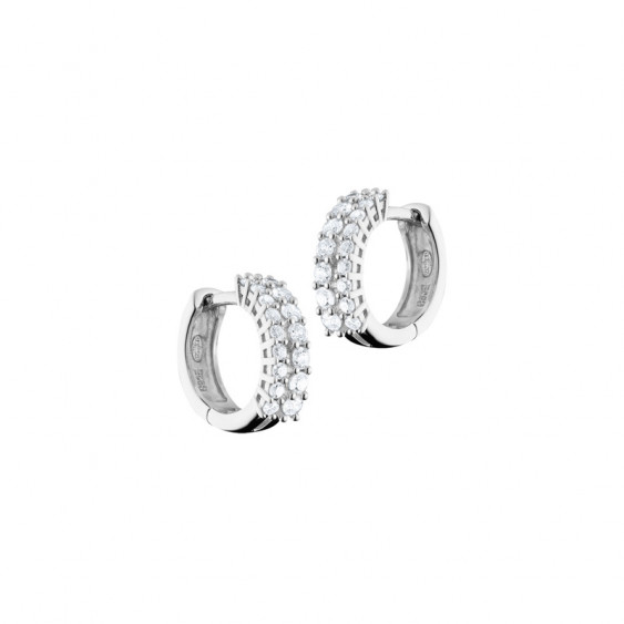 Elsa Lee Paris sterling silver earrings, hoop earrings covered by two lines of diamond cut clear Cubic Zirconia