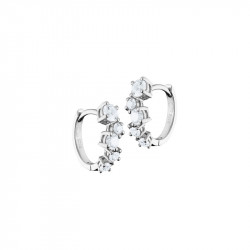Elsa Lee Paris sterling silver earrings, hoop earrings covered by 5 diamond cut clear Cubic Zirconia each