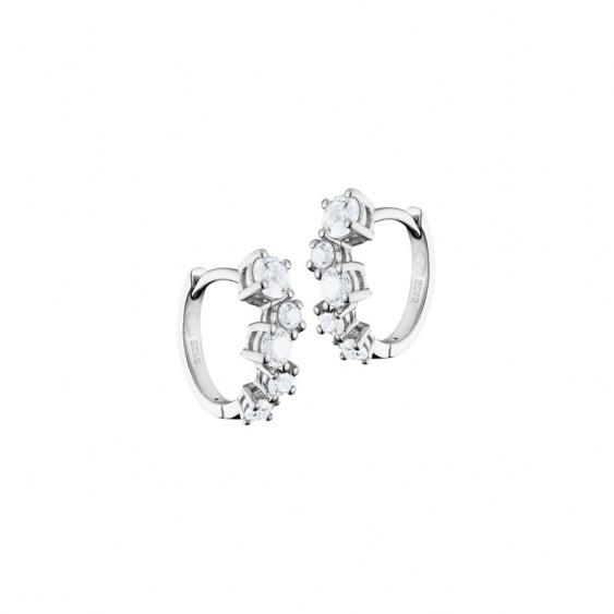 Boucles d'oreilles Elsa Lee Paris, style créoles en argent 925, pavées sur le devant de 5 oxydes de Zirconium chacune