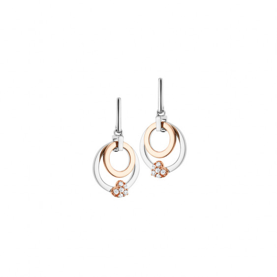 Elsa Lee Paris fine 925 sterling silver earrings, dangling earrings with two circles (gold tone and silver), one gold tone heart