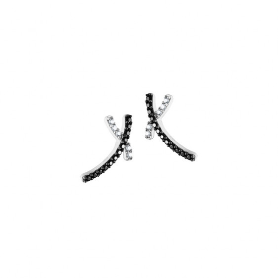 Elsa Lee Paris fine 925 sterling silver earrings , cross pattern covered by 10 clear Cubic Zirconia and 24 black Cubic Zirconia