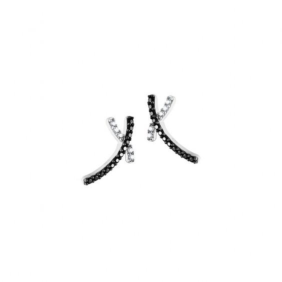 Boucles d'oreilles Elsa Lee Paris, en argent 925, forme croix allongées et pavées d'oxydes de Zirconium noirs et blancs