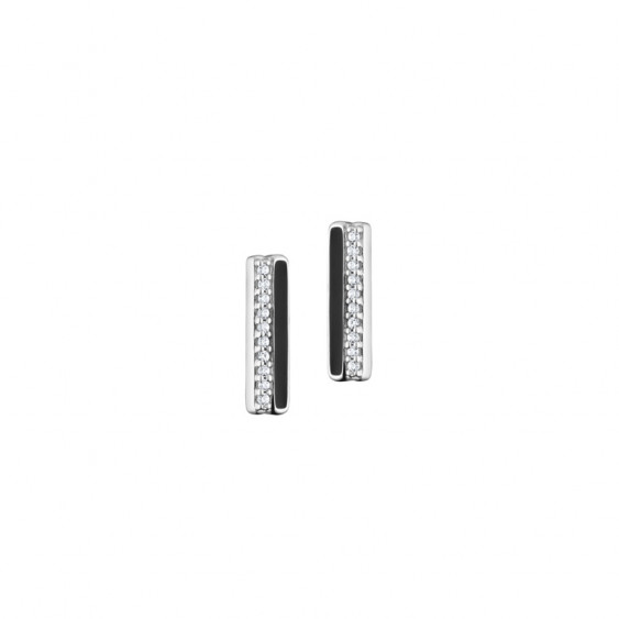 Elsa Lee Paris fine 925 sterling silver earrings, 2 lines with one covered in black enamel and 20 clear Cubic Zirconia