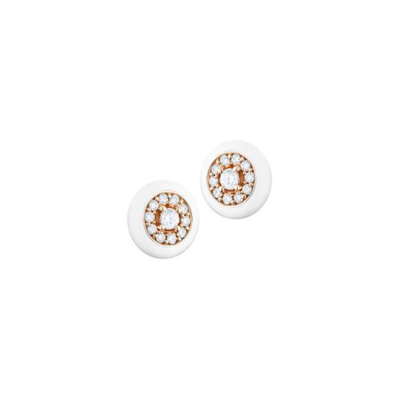 Boucles d'oreilles puces Elsa Lee Paris, en argent, émail blanc, argent rhodié rose et oxydes de Zirconium en forme de cercle