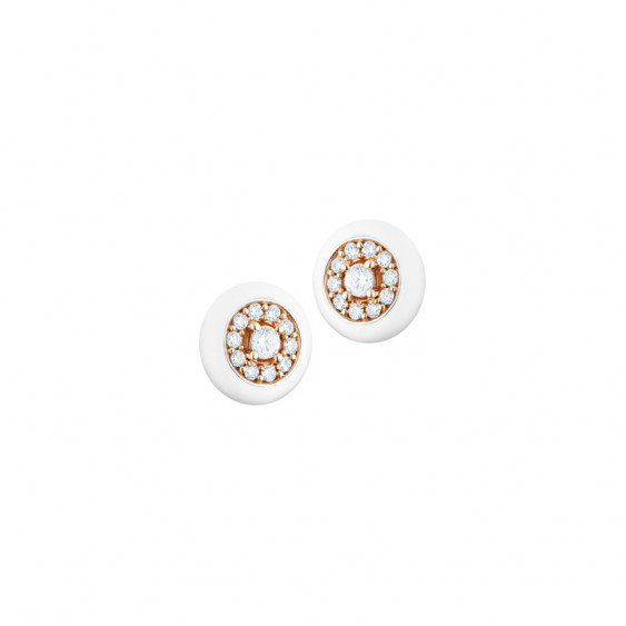 Elsa Lee Paris fine 925 sterling silver earrings with pink rhodium-plating, round shape with 22 clear Cubic Zirconia