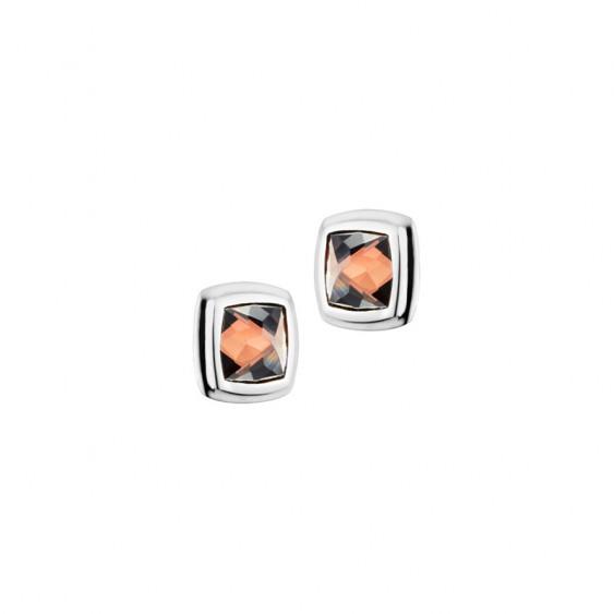 Boucles d'oreilles Camélia Elsa Lee Paris, en argent et oxydes de Zirconium chocolat sertis clos