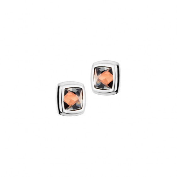 Elsa Lee Paris fine 925 sterling silver earrings with 2 close set chocolate Cubic Zirconia