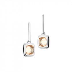 Boucles d'oreilles pendantes Elsa Lee Paris en argent, avec deux oxydes de Zirconium couleur champagne sertis clos et deux tiges