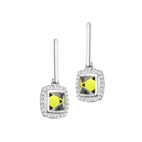 Elsa Lee Paris dangling sterling silver earrings with 2 close set green Cubic Zirconia surrounded by 48 clear Cubic Zirconia