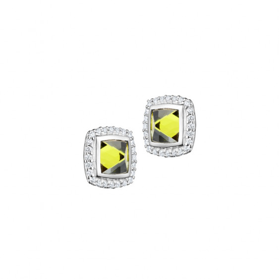 Elsa Lee Paris fine 925 sterling silver earrings with 2 close set green Cubic Zirconia surrounded by 48 clear Cubic Zirconia