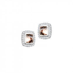 Elsa Lee Paris fine 925 sterling silver earrings with 2 close set champagne Cubic Zirconia surrounded by 48 clear Cubic Zirconia