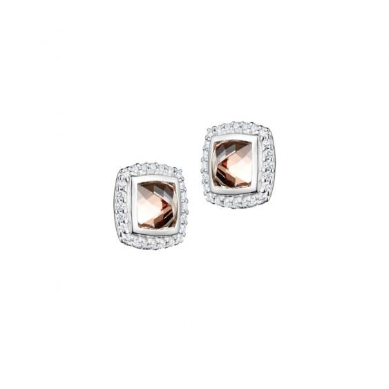 Boucles d'oreilles puces Elsa Lee Paris, en argent massif, deux oxydes de Zirconium champagne entourés d'un pavage de brillants