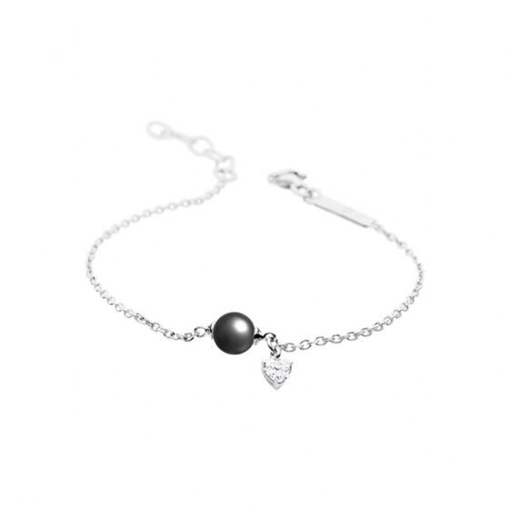 Bracelet Harmonie Elsa Lee Paris, collection La Vie en Rose, en argent, perle grise et oxyde de Zirconium pendant