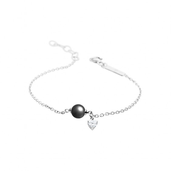 Elsa Lee Paris sterling silver chain bracelet with a 8mm grey pearl, one Cubic Zirconia 20cm diameter