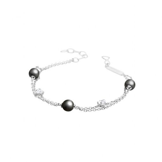 Elsa Lee Paris sterling silver chain bracelet with 3 8mm grey pearls, 20cm diameter