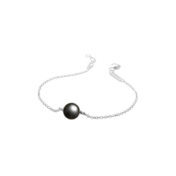 Elsa Lee Paris sterling silver chain bracelet with a 8mm grey pearl, 20cm diameter