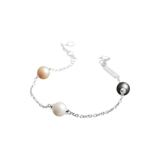 Bracelet Elsa Lee Paris en argent 925 avec trois perles de couleurs blanche, grise et ocre sur chaîne