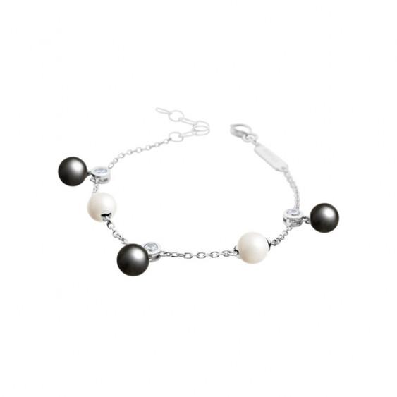 bracelet Elsa Lee Paris, chaine en argent, oxydes de Zirconium blancs et perles blanches et grises