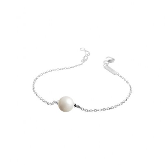 Bracelet Elsa Lee Paris, collection perles blanches, en argent avec une perle blanche sur chaîne